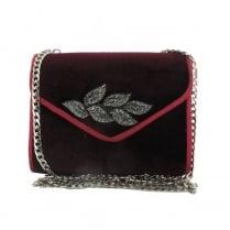 Menbur Algieba-Wei Burgundy Suede Leaf Clutch Bag