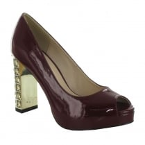Menbur Perseo Patent Burgundy Diamante High Heeled Court