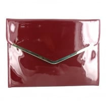 Menbur Alyssum Patent Burgundy Envelope Clutch Bag