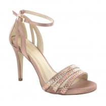 Menbur Rose Gold Satin Diamante High Heeled Sandals