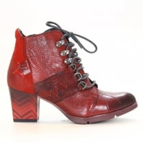 Maciejka Claret Womens Leather Ankle Boots - Red