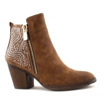 Escape Beaufort Tan Diamante Heeled Ankle Boot