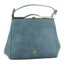 Menbur Crateris Blue Reptile Print Handbag