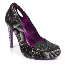 Irregular Choice Loren Love Black/Pewter Glitter High Heels