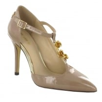 Menbur Merope Nude Patent Pointed Gold Roses T-Bar Court