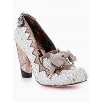 Irregular Choice Bubbles Gum Silver Court Charm Heels
