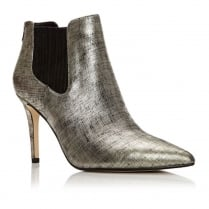 Moda in Pelle Kirstie Gold Leather Heeled Chic Ankle Boots