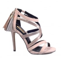 Glamour Nude Strap High Heel Tassle Sandals