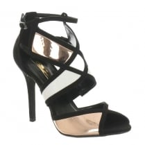 Glamour Black & Rose Gold Strappy Sandal