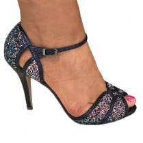 Glamour Navy Glitter High Heel