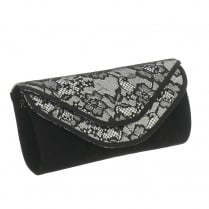 Glamour Black/Silver Faux Suede Clutch Bag