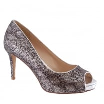 Barino Silver Reptile Shimmer Open Toe Court Shoe