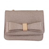 Barino Womens Gold Glitter Bow Clutch Bag