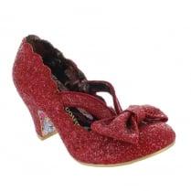 Irregular Choice - Final Bow - Red Glitter Mid Heel Shoes