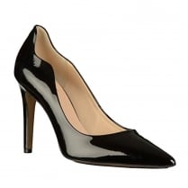 Hogl Womens Black Patent Leather High Stiletto Pointed Court