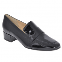 Hogl Womens Black Patent Leather Low Heel Loafers