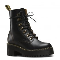 Dr.Martens Womens Black Leona Vintage Chunky Heel Laced Boots
