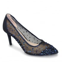 Lunar Argo Navy Mesh Occasion Pointed Court Heels
