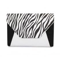 Lunar Corby ZLR411 Black&White Zebra Envelope Clutch Bag