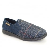 Lunar Goodyear Mens Harrison Tweed Blue Slipper KMG116