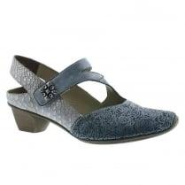 Rieker Ladies Blue Velcro Wooden Mid Heel Shoe