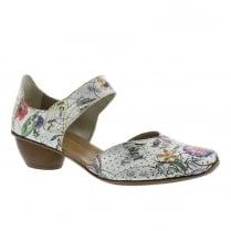 Rieker Ladies Multi White Wooden Mid Heel Mary-Jane Shoe