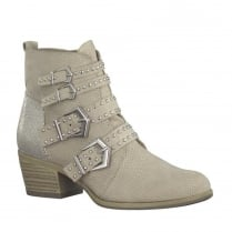 Marco Tozzi Dune Beige Perforated Ankle Boots