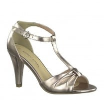 Marco Tozzi Rose Metallic High Heeled Ankle Strap Sandals