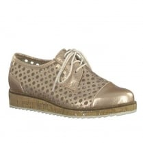 Marco Tozzi Rose Metallic Pattern Punched Lace Up Oxford Shoes