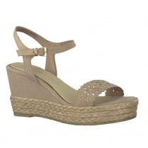 Marco Tozzi Nude Ankle Buckle Wedge Espadrille Sandals