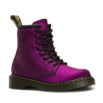 Dr Martens Junior Delaney Purple Glitter Ankle Lace Up Boots