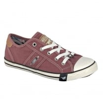 Mustang Women's Canvas Lace Up Burgundy Sneakers
