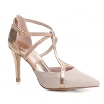 XTI Womens Nude/Rose Gold T-Bar Pointed High Heel