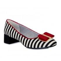 Ruby Shoo June Black/White Stripe Low Heel Elegant Pumps Shoes
