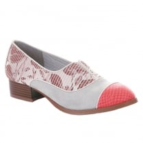 Ruby Shoo Brooke Coral/Grey Floral Low Heel Slip On Shoes