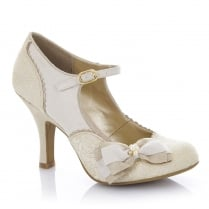 Ruby Shoo Maria Gold Cream Mary Jane Court Shoes