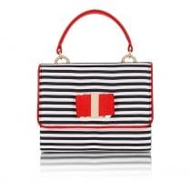 Ruby Shoo Casablanca Handbag - Black/Red Stripe