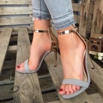 Millie & Co Barely There Heeled Sandal - Grey & Rose Gold