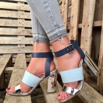 Millie & Co Block Heel Sandal - Blue