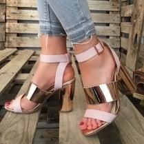 Millie & Co Block Heel Sandal - Pink & Rose Gold