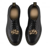 Dr Martens Womens Joyce Heart Black leopard Brogue Shoes