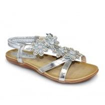 Lunar JLH664 Fiji Silver Floral Ankle Strap Sandals