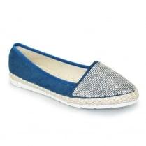 Lunar JLY041 Hudson Diamante Casual Shoe - Blue
