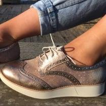 Wonders Rose Gold Shimmer Brogue Shoe