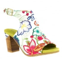 Laura Vita Bernie White/Multi Peep Toe Open Heel Sandals