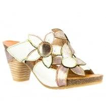 Laura Vita Dax White Slip On Mule Sandals