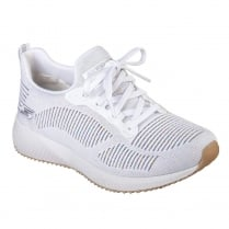Skechers Womens Bobs Sport Squad Multifaceted White Sneakers