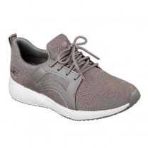 Skechers Womens Bobs Sport Squad Glossy Finish Taupe Sneakers