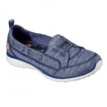 Skechers Microburst Beauty Blossom Navy Slip On Trainers