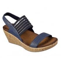 Skechers Beverlee Smitten Kitten Navy Wedge Sandals